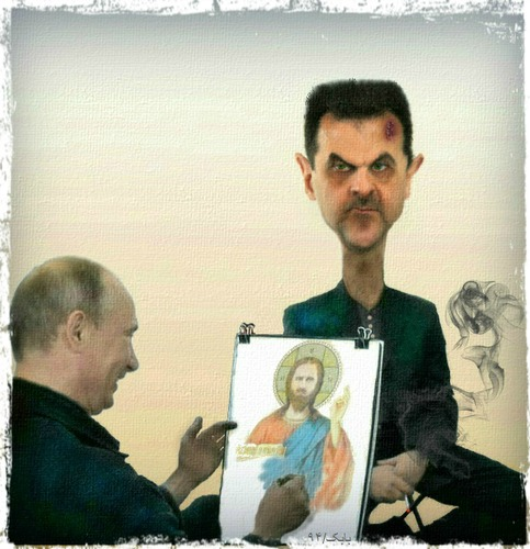 Cartoon: Putin drawing Assad (medium) by Babak Massoumi tagged putin,assad