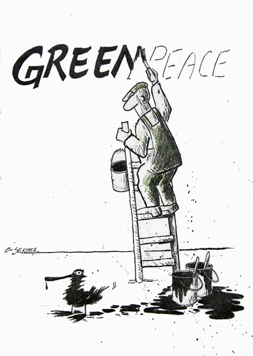 Cartoon: greenpeace (medium) by o-sekoer tagged global,warming