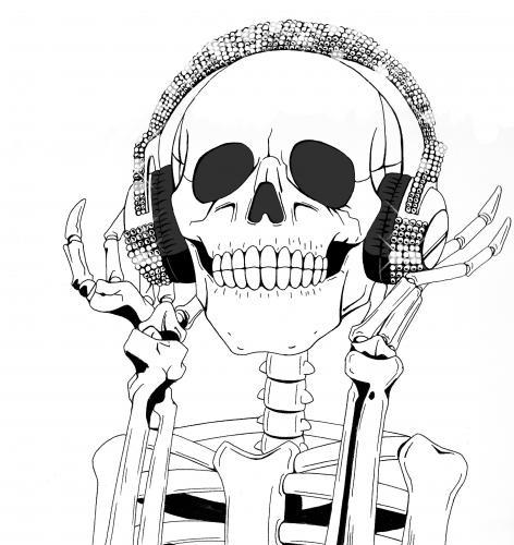 the skull enjoy the music by dj savior love cartoon