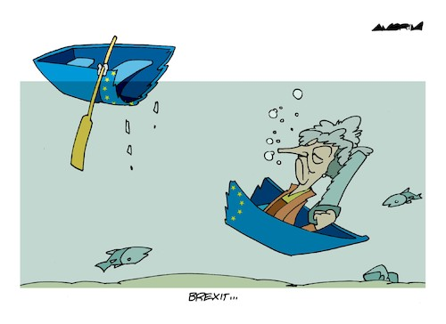 Cartoon: Sinking (medium) by Amorim tagged brexit,theresa,may,uk,european,union
