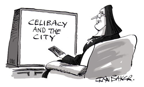 Cartoon: Celibacy In The City (medium) by Ian Baker tagged in,the,city,celibacy,religion,nun,nuns,tv,show,watch,ian,baker,cartoon,catholic,remote,control,habit