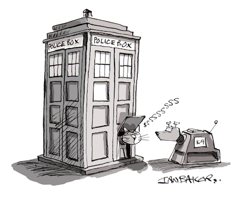 Cartoon: Dr Who (medium) by Ian Baker tagged dr,who,tardis,space,science,fiction,sci,fi,woman,female,k9,time,travel,dog,cat,cats,flap,gag,cartoon,ian,baker,magazine,private,eye