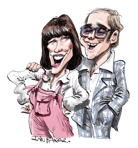 Cartoon: Elton John and Kiki Dee (medium) by Ian Baker tagged elton,john,kiki,dee,music,pop,seventies,70s,ian,baker,caricature,rocket,records,dont,go,breaking,my,heart,number,one,style,clothes,fashion