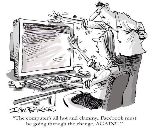 Cartoon: Facebook (medium) by Ian Baker tagged facebook,twitter,social,networking,internet,computer,fix,change,alter,ruin,meddle,hot,sweat,ill,couple,pc,web,menopause,medical