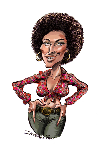 Cartoon: Pam Grier (medium) by Ian Baker tagged baker,ian,blaxploitation,movies,film,seventies,grier,pam,caricature,foxy,brown,afro,sexy,cartoon,action