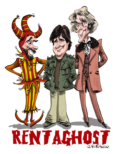 Cartoon: Rentaghost (medium) by Ian Baker tagged tv,children,kids,rentaghost,ghosts,spooks,spooky,halloween,series,seventies,retro,nostalgia,fred,mumford,hubert,davenport,michael,staniforth,timothy,claypole,jester,anthony,jackson,darbyshire,ian,baker,caricature,cartoon