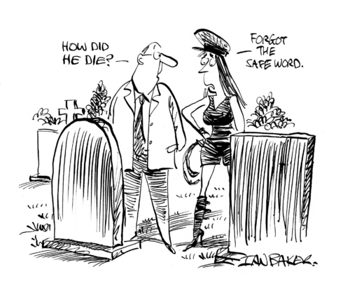 Cartoon: Safeword (medium) by Ian Baker tagged couple,funeral,burial,dead,death,and,kinky,masochism,sado,dominatrix,safe,word,safeword,fetish,leather,graveyard,ian,baker,gag,cartoon