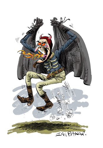 Cartoon: Spring Heeled Jack (medium) by Ian Baker tagged spring,heeled,jack,evil,monster,myth,victorian,england,scary,horror,terror