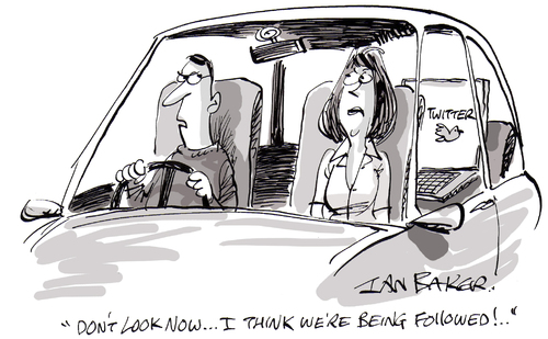 Cartoon: Twitter (medium) by Ian Baker tagged twitter,follow,followed,car,couple,drive,social,networking,new,media,internet,ian,baker,cartoon,gag,road,facebook
