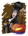 Cartoon: Elvira (small) by Ian Baker tagged elvira,mistress,dark,horror,sexy,caricature,films,pumpkin