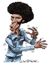 Cartoon: Jim Kelly - Black Belt Jones (small) by Ian Baker tagged jim,kelly,black,belt,jones,ian,baker,caricature,cartoon,seventies,kung,fu,martial,arts,blaxploitation,70s,karate,fighting,action,film,star,afro,retro