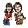 Cartoon: Mork and Mindy (small) by Ian Baker tagged robin,williams,pam,dawber,mork,and,mindy,sit,com,comedy,humour,tv,alien,seventies,rip,ian,baker,cartoon,illustration,caricature,famous,comedian,death