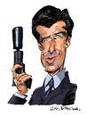 Cartoon: Pierce Brosnan (small) by Ian Baker tagged pierce,brosnan,james,bond,007,spy,film,caricature,goldeneye