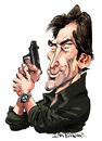 Cartoon: Timothy Dalton (small) by Ian Baker tagged timothy,dalton,james,bond,007,spy,film,caricature,hero,gun,eighties