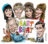 Cartoon: Tony Hart on Hart Beat (small) by Ian Baker tagged tony,hart,margot,wilson,liza,brown,joanna,kirk,gabrielle,bradshaw,colin,bennett,morph,tv,80s,nostalgia,bbc