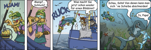 Cartoon: Krabbenjunx - Köder (medium) by florianolgi tagged comic,comicstrip,graphicnovel,illustration,character,cartoon,joke,humor,funny,witz,gag,spaß,zeichnen,drawing,sketch,painting,krabbenjunx,ole,hering,kai,matjes,olgi,käptn,underwater,unterwasser,meeresgerund,meer,tauchen,fischen,krabben,fishing,köder,bait,hai,shark,sharks,haie