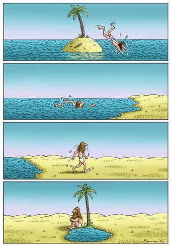 Cartoon: Abwechslung (medium) by marian kamensky tagged change,is,life,the,abwechslung,humor,schwarzer,abwechslung,insel,einsame insel,alleine,land,wasser,einsame