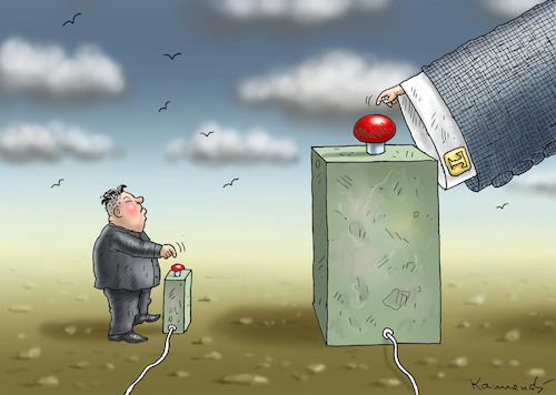 Cartoon: ATOMIC BAD BOYS KIM AND DONNY (medium) by marian kamensky tagged obama,trump,präsidentenwahlen,usa,baba,vanga,republikaner,inauguration,demokraten,kim,jong,un,nord,korea,wikileaks,faschismus,obama,trump,präsidentenwahlen,usa,baba,vanga,republikaner,inauguration,demokraten,kim,jong,un,nord,korea,wikileaks,faschismus