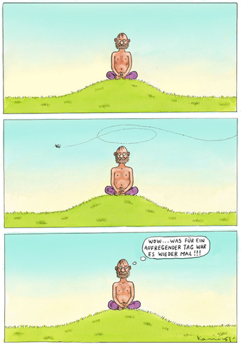Cartoon: Aufregender Hartz 4 Tag (medium) by marian kamensky tagged humor,illustration,meditation