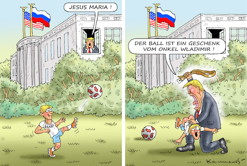 Cartoon: BARRON TRUMP HAT EIN PROBLEM (medium) by marian kamensky tagged obama,trump,präsidentenwahlen,usa,baba,vanga,republikaner,inauguration,demokraten,wikileaks,g7,kanada,faschismus,putin,helsinki,obama,trump,präsidentenwahlen,usa,baba,vanga,republikaner,inauguration,demokraten,wikileaks,g7,kanada,faschismus,putin,helsinki