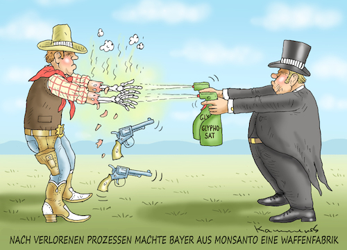 Cartoon: BAYER WIRD DIE KLAGEN ÜBERLEBEN (medium) by marian kamensky tagged brexit,theresa,may,england,eu,schottland,weicher,wahlen,boris,johnson,nigel,farage,ostern,seidenstrasse,xi,jinping,referendum,trump,monsanto,bayer,glyphosa,strafzölle,brexit,theresa,may,england,eu,schottland,weicher,wahlen,boris,johnson,nigel,farage,ostern,seidenstrasse,xi,jinping,referendum,trump,monsanto,bayer,glyphosa,strafzölle