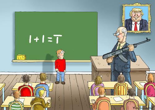 Bewaffnete Lehrer In Den Usa By Marian Kamensky Politics Cartoon Toonpool