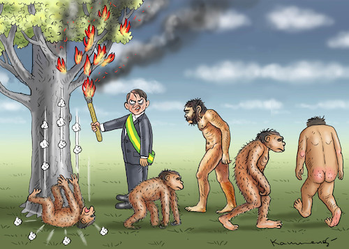 Cartoon: BOLSONAROS DEVOLUTION (medium) by marian kamensky tagged jair,bolsonaro,brasilien,präsidentenwahl,faschismus,nationalisms,rechtsradikal,rassistisch,trump,mercosur,jair,bolsonaro,brasilien,präsidentenwahl,faschismus,nationalisms,rechtsradikal,rassistisch,trump,mercosur
