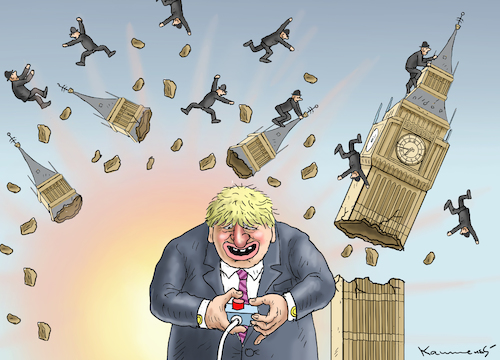 Cartoon: BORIS SPRENGT DAS PARLAMENT (medium) by marian kamensky tagged brexit,theresa,may,england,eu,schottland,weicher,wahlen,boris,johnson,nigel,farage,ostern,seidenstrasse,xi,jinping,referendum,trump,monsanto,bayer,glyphosa,strafzölle,brexit,theresa,may,england,eu,schottland,weicher,wahlen,boris,johnson,nigel,farage,ostern,seidenstrasse,xi,jinping,referendum,trump,monsanto,bayer,glyphosa,strafzölle