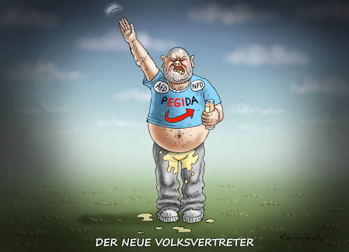 Cartoon: DER NEUE VOLKSVERTRETER (medium) by marian kamensky tagged merkel,versus,schulz,wahlkampf,2017,tv,duell,spd,cdu,merkel,versus,schulz,wahlkampf,2017,tv,duell,spd,cdu
