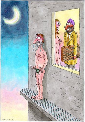 Cartoon: Fakir Husband (medium) by marian kamensky tagged inder,schwarzer,humor,erwischt,untreue,nagelbrett,fakir,liebe,fremdgehen,seitensprung,fakir,erwischt