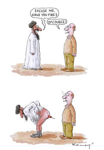 Cartoon: Fire (medium) by marian kamensky tagged unsicherheit,terror,welt,dritte,integration,alkhaida,terror,unsicherheit,integration,dritte welt,terroristen,dritte,welt