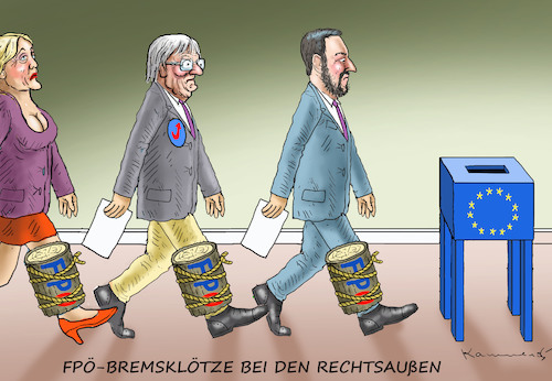 Cartoon: FPÖ-BREMSKLÖTZE BEI DEN RECHTSAU (medium) by marian kamensky tagged kkk,monarchie,babis,strache,kurz,orban,kopftuchverbot,populismus,kazsynski,ungarn,pressefreiheit,juncker,soros,kaczinski,ibiza,kkk,monarchie,babis,strache,kurz,orban,kopftuchverbot,populismus,kazsynski,ungarn,pressefreiheit,juncker,soros,kaczinski,ibiza