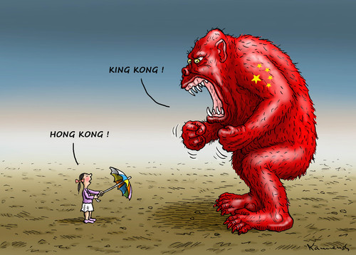 Cartoon: Hong Kong King Kong (medium) by marian kamensky tagged honkong,proteste,china,demokratie,regenschirmrevolution,kong,honkong,proteste,china,demokratie,regenschirmrevolution