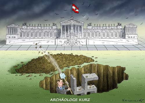 KURZSCHLUSS-ARCHÄOLOGE By marian kamensky | Politics Cartoon | TOONPOOL