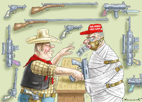 Cartoon: MAKE AMERICA GREAT AGAIN (medium) by marian kamensky tagged terror,attack,in,florida,parkland,highschool,nra,terror,attack,in,florida,parkland,highschool,nra