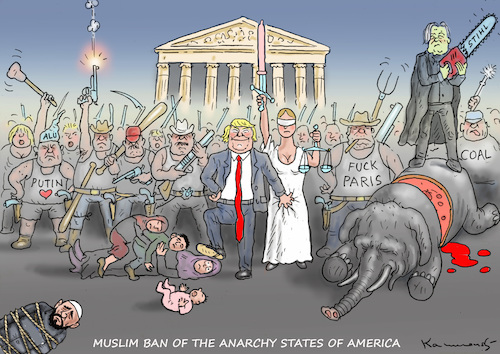 Cartoon: MUSLIM BAN (medium) by marian kamensky tagged obama,trump,präsidentenwahlen,usa,baba,vanga,republikaner,inauguration,demokraten,fbi,james,comey,wikileaks,faschismus,muslim,ban,obama,trump,präsidentenwahlen,usa,baba,vanga,republikaner,inauguration,demokraten,fbi,james,comey,wikileaks,faschismus,muslim,ban