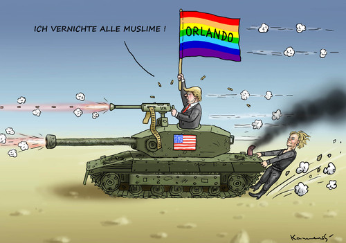 Cartoon: ORLANDO (medium) by marian kamensky tagged orlando,trump,is,terroranschlag,orlando,trump,is,terroranschlag