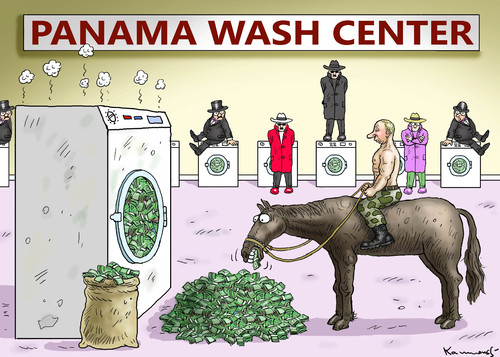 Cartoon: PANAMA WASH CENTER (medium) by marian kamensky tagged panama,wash,center,panama,wash,center