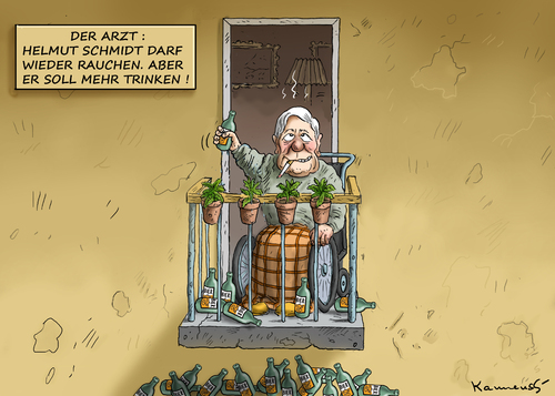 Cartoon: Schmidt auf dem Mentholbalkon (medium) by marian kamensky tagged helmut,schmidt,schwächeanfall,dehydrierung,helmut,schmidt,schwächeanfall,dehydrierung