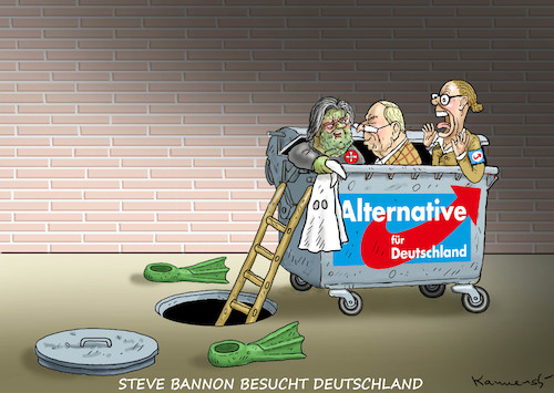 Cartoon: STEVE BANNON BESUCHT DEUTSCHLAND (medium) by marian kamensky tagged obama,trump,präsidentenwahlen,usa,baba,vanga,republikaner,inauguration,demokraten,us,steuer,reform,weihnachten,fire,and,fury,steve,bannon,wikileaks,faschismus,afd,obama,trump,präsidentenwahlen,usa,baba,vanga,republikaner,inauguration,demokraten,us,steuer,reform,weihnachten,fire,and,fury,steve,bannon,wikileaks,faschismus,afd