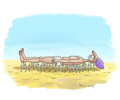 Syringe relax by marian kamensky religion cartoon toonpool for Bett schlafen