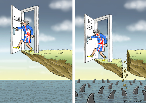 Cartoon: TO DEAL OR NOT TO DEAL (medium) by marian kamensky tagged brexit,theresa,may,england,eu,schottland,weicher,wahlen,boris,johnson,nigel,farage,no,deal,referendum,to,brexit,theresa,may,england,eu,schottland,weicher,wahlen,boris,johnson,nigel,farage,no,deal,referendum