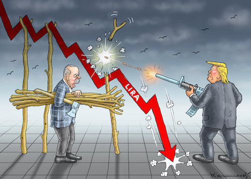 Cartoon: TRUMP VERSUS ERDOGAN (medium) by marian kamensky tagged trump,versus,erdogan,lira,türkei,sanktionen,trump,versus,erdogan,lira,türkei,sanktionen