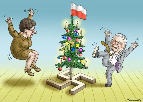 weihnachten in polen by marian kamensky politics cartoon toonpool. Black Bedroom Furniture Sets. Home Design Ideas