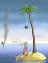 Cartoon: Saved! (small) by marian kamensky tagged humor,schwarzer,island,letzter,wille,reue