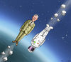 Cartoon: Strohnach vs Baumgartner (small) by marian kamensky tagged frank,strohnach,felix,baumgartner,österreich