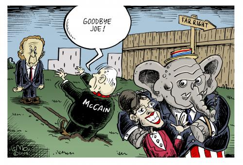 Cartoon: Dragging McCain (medium) by Lemon tagged lieberman,palin,mccain,republicans