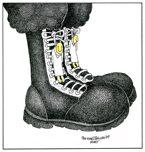 Cartoon: Postal (medium) by Mehmet Selcuk tagged military,boots