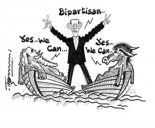 More On Bi Partisanship >> Bipartisan Yes We can By Thommy | Politics Cartoon | TOONPOOL
