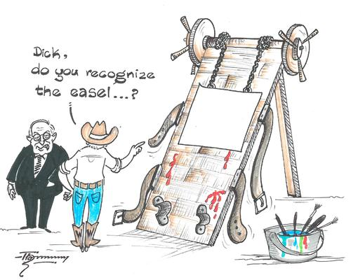 Cartoon: George Bushs Easel (medium) by Thommy tagged george,bush,paintings
